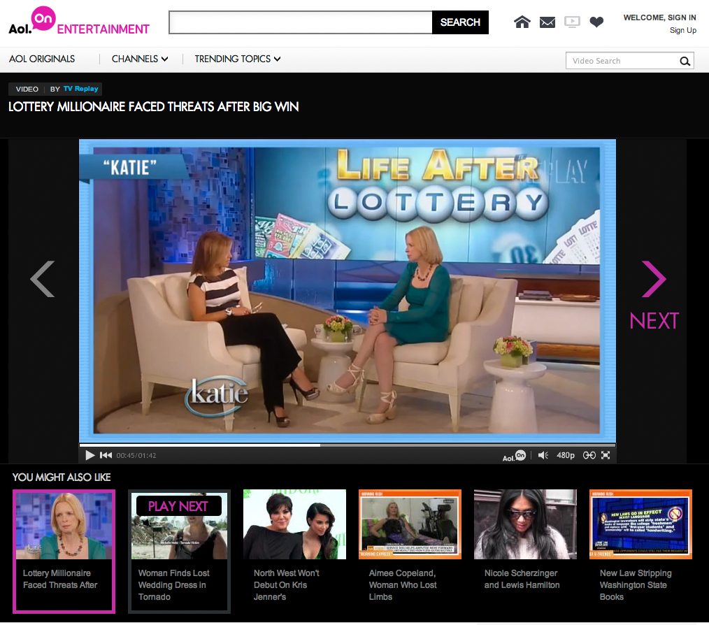 AOL Entertainment feature video of Shirley Press interview on Katie Couric Show